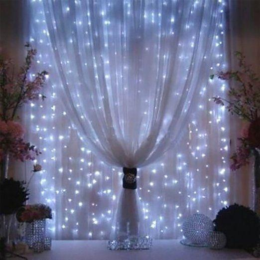 Weihnachtsdeko Fenster LED Vorhang Eiszapfen Lichterkette 300 LEDer innen außen Beleuchtung Dekoration, Weiß