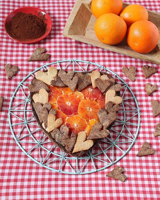 wholemeal cocoa tart with orange cream: biscottirosaetralala