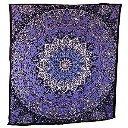 Popular Handicrafts Hippie Mandala Tapestry Blue Purple Wall Hanging, Indian Large Table Runner Bed Cover Art, Cotton Bohemian Sheet, Decor Art Hanging