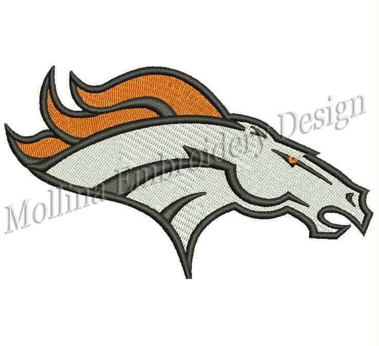 Denver Broncos Logo Machine Embroidery Design 5 Sizes by MollinaDesign on Etsy