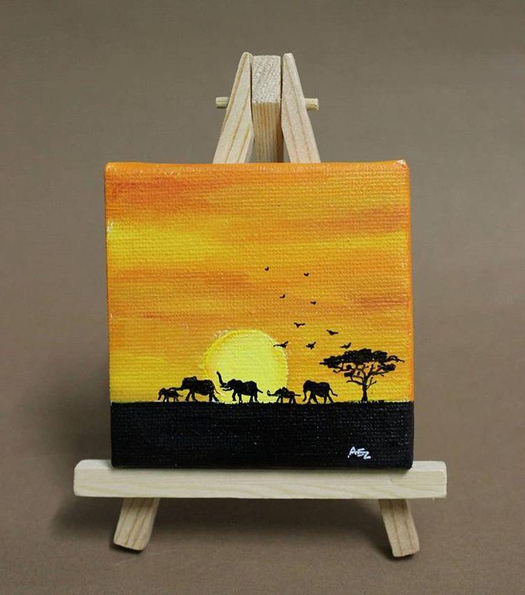 Weltelefantentag 12. August Hier ist mein erstes Mini-Leinwandbild meiner Fa …