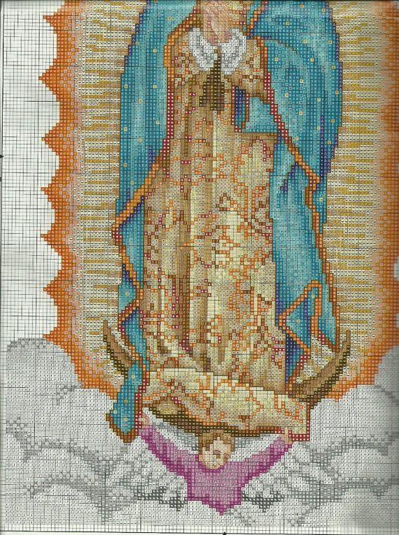 Patrones en punto de cruz de la Virgen de Guadalupe - Imagui: