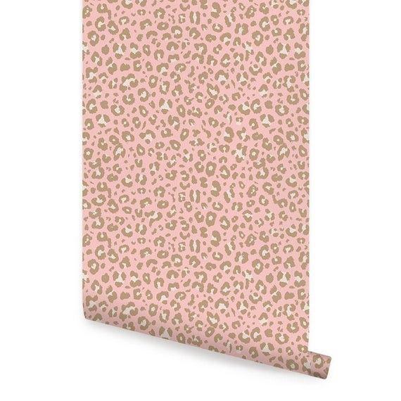Animal Print Leopard Wallpaper Pink Self Adhesive Fabric Repositionable Wallpaper Peel And Stick Wallpaper Leopard Wallpaper Simple Shapes