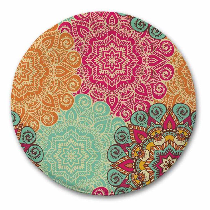 Indian Printed Carpet Rug Geometric Pattern Floor Mat Bathroom Carpet Round Mediterranean Kitchen Home Door Mat Children R