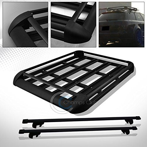 """R&L Racing 52"""" BLK SQUARE TYPE ROOF RAIL RACK CROSS BAR KIT+CARGO CARRIER LUGGAGE BASKET C1  Universal Fit For Vehicles With An Existing Roof Side Rail System , Attention Note: Will Not Fit Flush Mounted Or Round / Oval Shaped Roof Rails, Will Not Fit Factory Rails If The Height Is Over 1 1/2 Inches, Please Measure The Dimension Of Your Factory Roof Rail & Make Sure This Item Applies To Your Car,  Aluminum Roof Rack Cross Bars With Adjustable Clamps, Locks & Keys + Aluminum Roof Rack C..."""