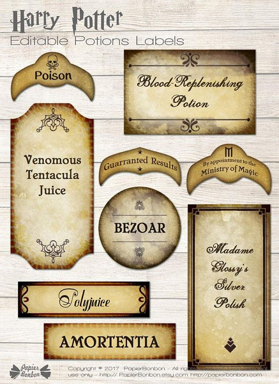 Harry Potter editable potions labels printable  wizard tags