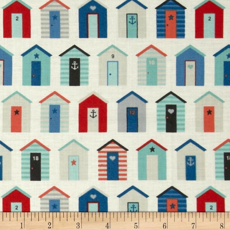 Nautical Beach Huts Cream