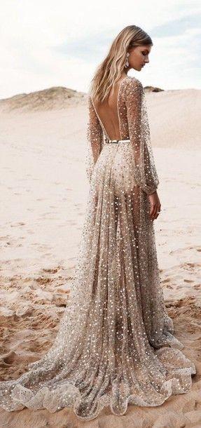 $10 - $500 V-Neck Backless High Waisted Shimmery Glittery Sequinned Beige Gold Alternative Prom Dress Gown