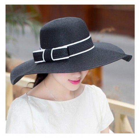Fashion bow ladies sun hats UV beach straw hat package design