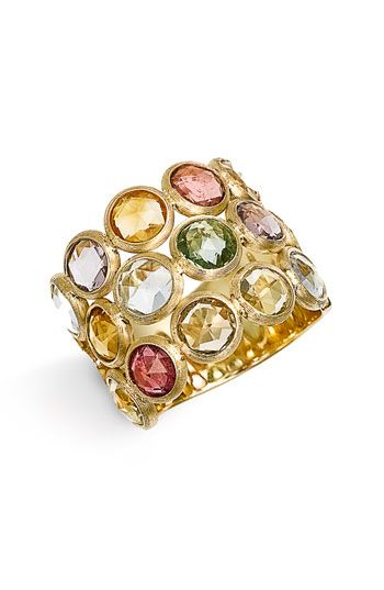 Marco Bicego 'Jaipur' Multi Stone Ring - 18k gold w/ tourmaline, quatz, peridot, apatite, citrine, or amethyst.  Made in Italy (in spite of the title...)