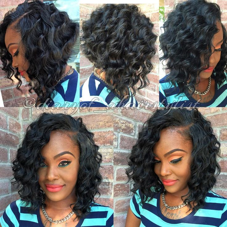 African-American Angled Curly Bob