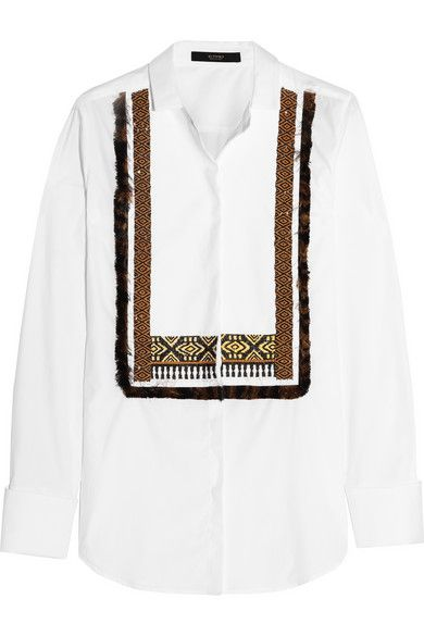 Etro's white cotton-poplin shirt combines classic tailoring with the label's signature bohemian aesthetic. Paneled with a contrasting piqué bib, it is hand-embellished with beaded embroidery and silk fringing. Wear it to add interest to formal outfits - we like it best tucked into high-rise pants. Shop it now at NET-A-PORTER.COM #Etro