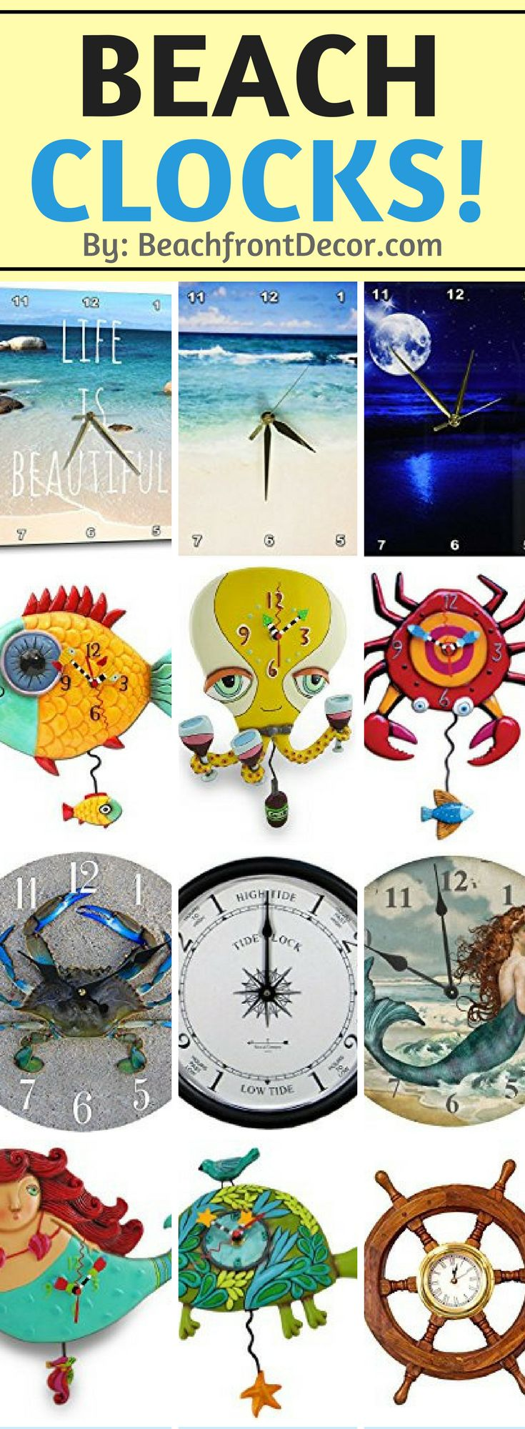 90 best beach wall clocks images on pinterest tropical we have check out all of our nautical coastal tropical and beach themed clocks for amipublicfo Images