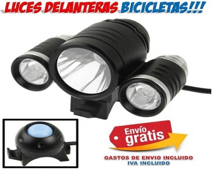 Accesorios para bicicletas. Luces delanteras triple iluminacion para tu bici.