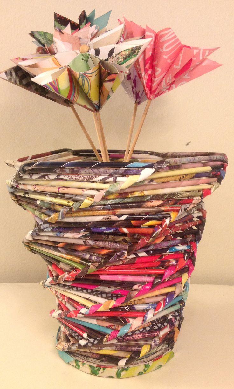 Portaflorero hecho con papel de revistas - Magazine paper crafts