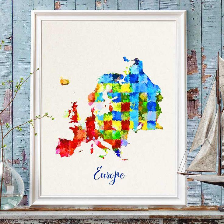 Europe Map Print, European Map, Europe Wall Art, Watercolor Europe Map Print, Colorful Europe Map Poster, Nursery European Decor (717) by PointDot on Etsy