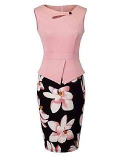 Bayanlar Günlük/Sade / Büyük Beden Vintage Kılıf Elbise Çiçekli,Kolsuz Yuvarlak Yaka Diz-boyu Pembe / Kırmızı / Sarı Polyester Yaz