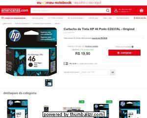 [Americanas.com] Cartucho de Tinta HP 46 Preto CZ637AL - Original - de R$ 25,58 por R$ 19,90 (22% de desconto)