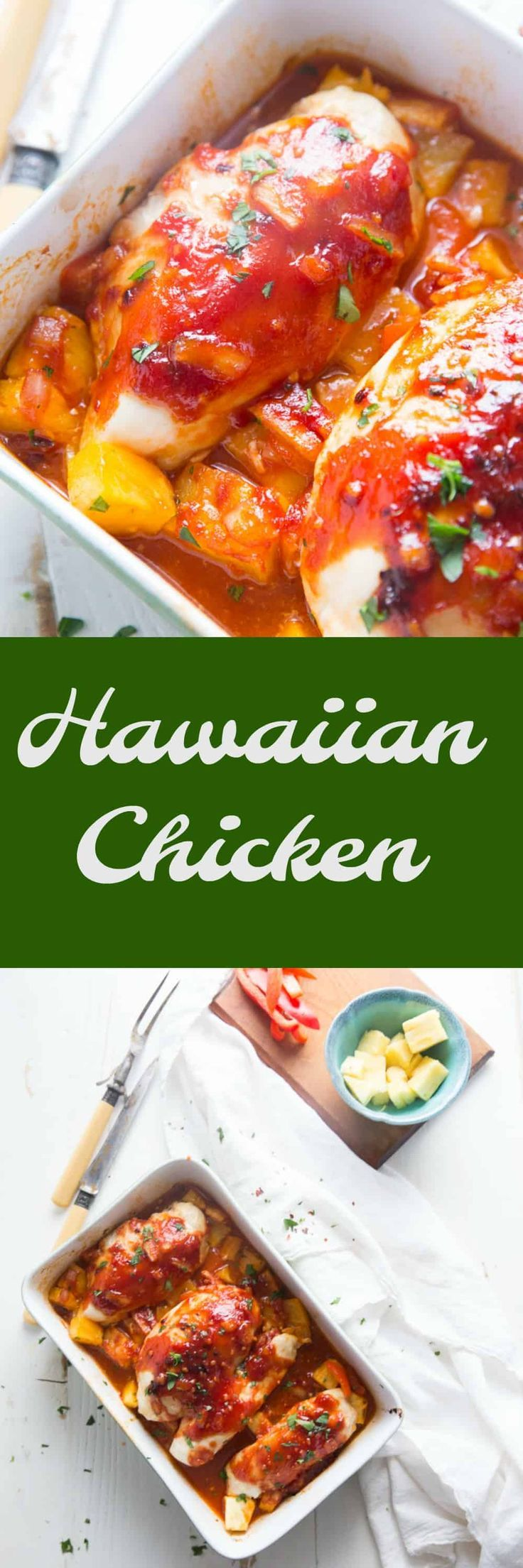 This Hawaiian Chicken starts with fresh pineapple and peppers that gets covered in a tangy sauce that is sweet and fragrant. This dish is mood altering! via @Lemonsforlulu #paleo #whole30 #healthy