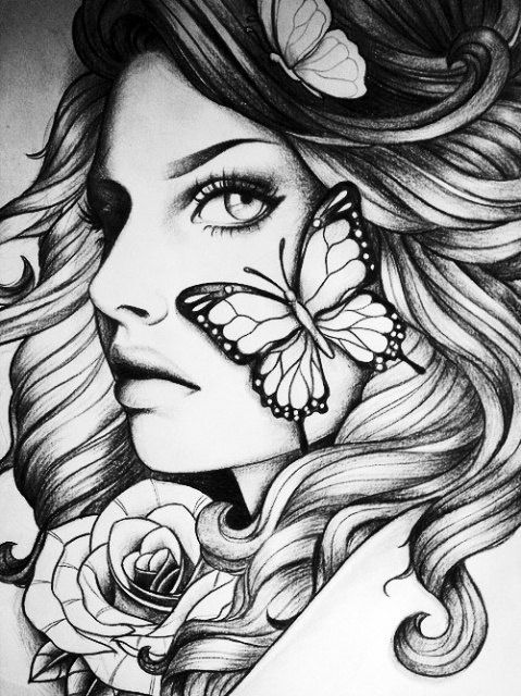 Art Black And White And Girl Image Adult Coloring Book