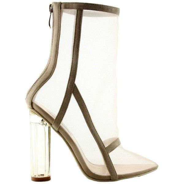 Amazon.com   Cape Robbin Braddy-2 Pointy Toe Block Clear Perspex Heel... ($50) ❤ liked on Polyvore featuring shoes, boots, ankle booties, nude ankle boots, pointy toe booties, pointed toe booties, clear heel booties and ankle boots