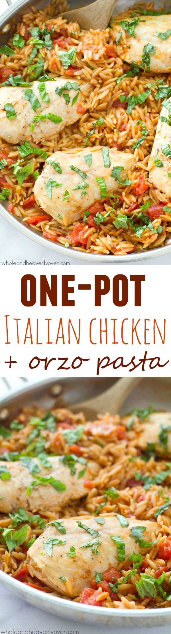 Ready in 30 minutes and made in only one pot, this Italian-style chicken and orzo pasta is total comfort food that anyone can make it's so easy! @WholeHeavenly
