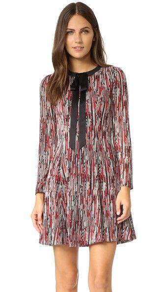 alice + olivia Gwyneth Tie Neck Flare Dress