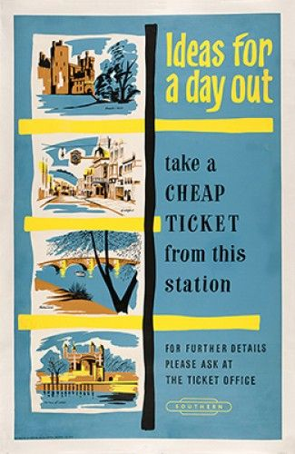 Ideas for a Day Out. Original screen print in colours, linen backed, published by the Southern region of British Railways, c.1950.