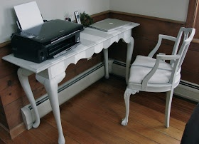 Pieced Pastimes: Gray and White Striped Desk with Faux French Grain Sack