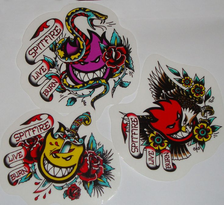 Spitfire wheels skateboard sticker tattoo flash flame head logo