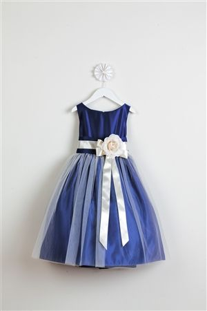 This one is my favorite!  girls' royal blue vintage satin and tulle dress