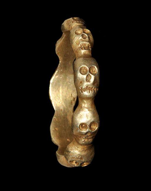 Medieval Silver-Gilt Skull Ring, c. 16th Century... at Ancient & Medieval History
