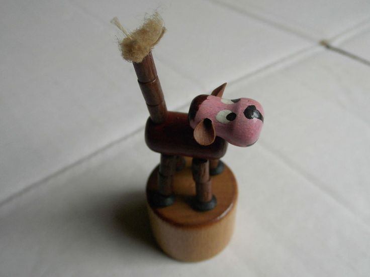 WAKOUWA Push Puppet Toy bois Original Siltoys Italy. Vintage Collector.
