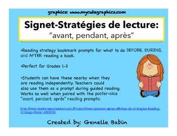 Signets- Avant, Pendant, Après-Stratégies de lecture- Read