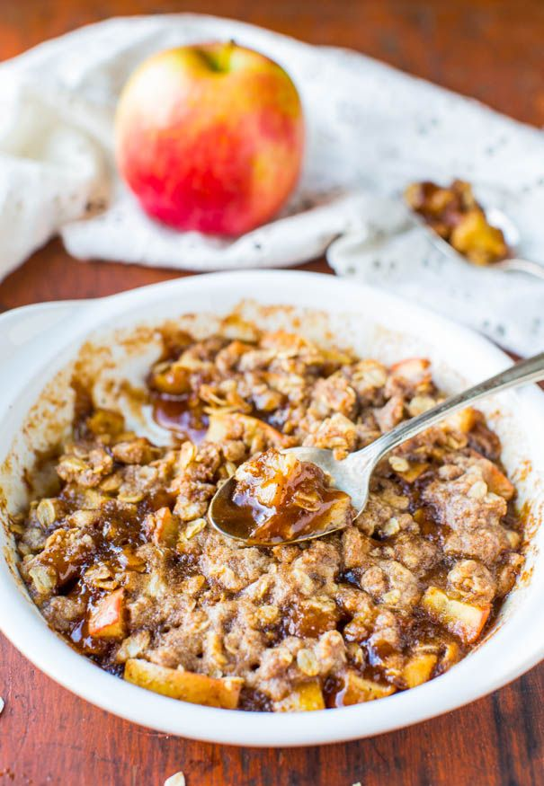 5-Minute Microwave Apple Cinnamon Crumble For One (vegan, gluten-free) - 5-Minute Easy Recipe at averiecooks.com