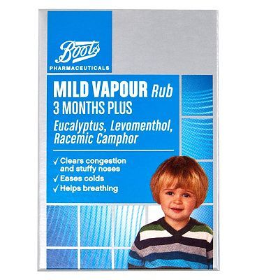 Boots Pharmaceuticals Mild Vapour Rub 3 Months 4 Advantage card points. Eases coughs, colds and helps breathing.See details below, always read the labelSuitable for: Children over 3 months old, and adults.Active ingredients: Eucalyptus Oil, Levome http://www.MightGet.com/april-2017-1/boots-pharmaceuticals-mild-vapour-rub-3-months.asp