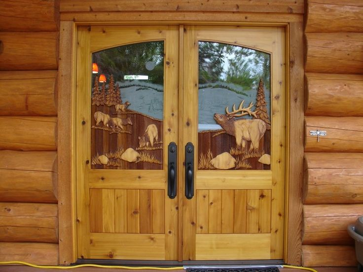 Montana Elk Double Doorcedar Double Door With Carved Elk