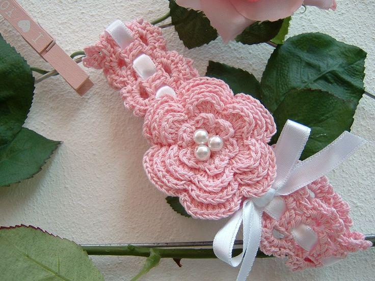 Fascia di cotone rosa da bebè-Fascia per capelli da neonata all'uncinetto-Nastro per capelli da battesimo-Abbigliamento neonate-Moda bebè