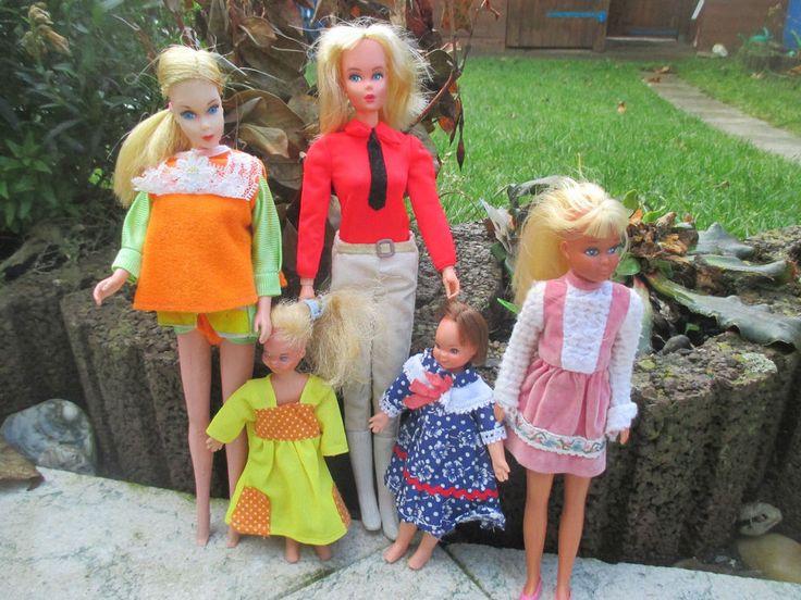 5x alte BARBIE Puppen SKIPPER TUTTI REITBARBIE - MATTEL 1965-68 ~DACHBODENFUND~