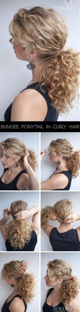 Hair Romance - Bungee Ponytail Hair Tutorial in curly hair