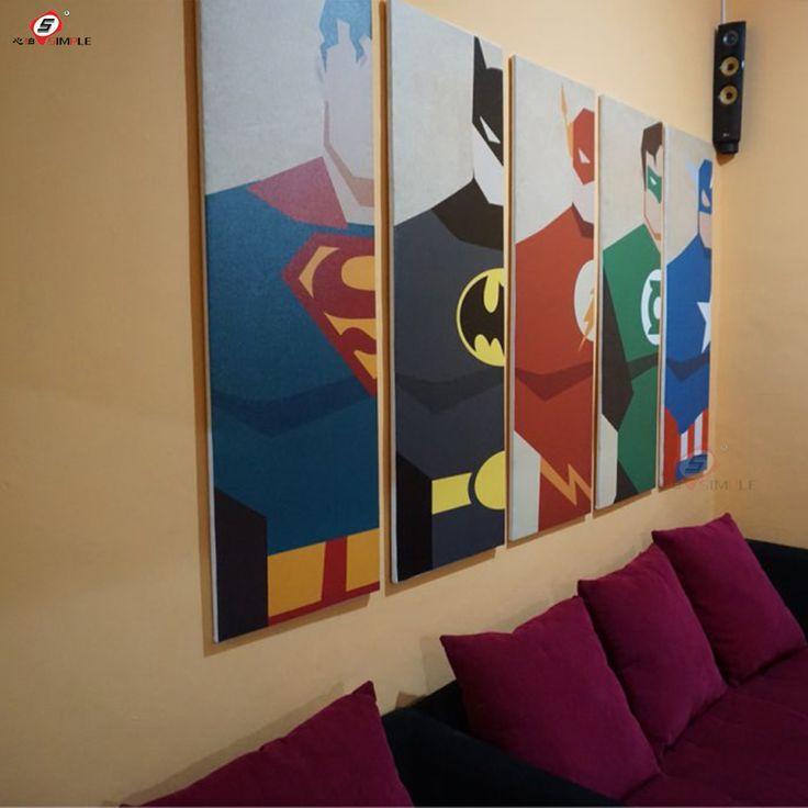 Pintura Al Óleo de la Lona Super Héroe Batman Dibujos Animados Modular Cuadros en La Pared Decoración Casera Moderna pintura de Pared Cuadros para la Sala