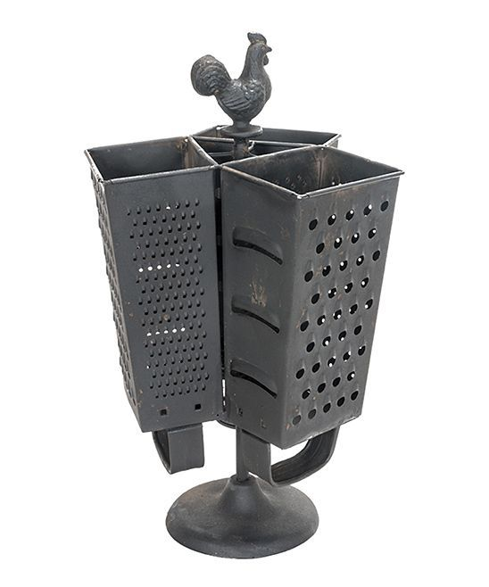 Rooster Cheese Grater Three-Section Utensil Holder