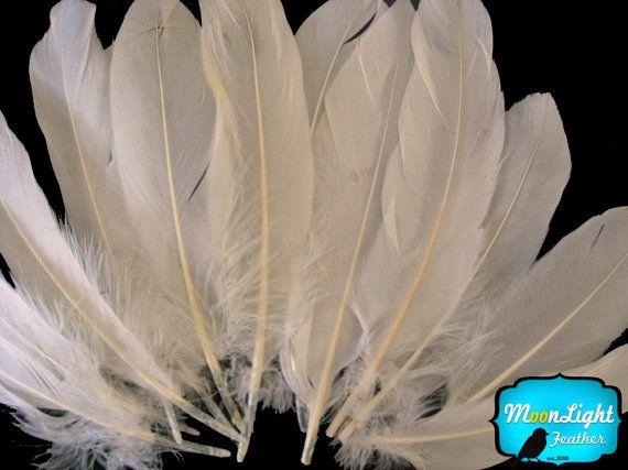Ivory Goose Feathers 1 pack  CREAM Goose by MoonlightFeatherInc, $2.80