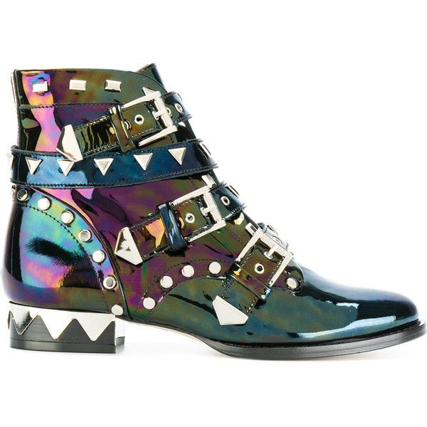 Sophia Webster holographic biker boots featuring polyvore, women's fashion, shoes, boots, black, multi color shoes, sophia webster boots, engineer boots, multicolor boots and black shoes