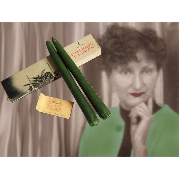 Pair of Midcentury Green Scented Bayberry Candles in Original Box ($10) ❤ liked on Polyvore featuring home, home decor, candles & candleholders, fragrance candles, lighted candles, green home decor, scented candles and lit candle