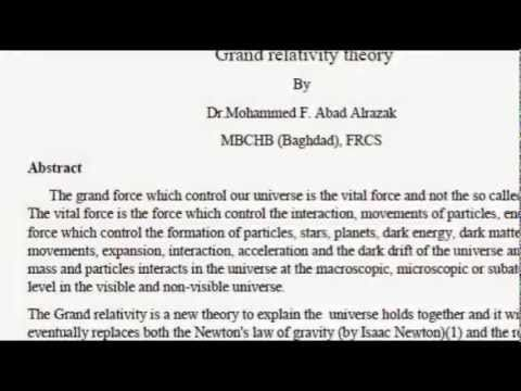 Grand relativity theory by Dr Mohammed A Alrazak Grand relativity equati...