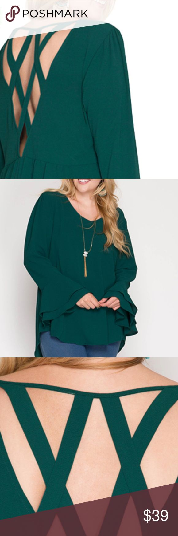 Layered Bell Sleeve Blouse -- Green -- Plus Size Gorgeous layered bell sleeve blouse with lattice open back and dipped hem. Perfect with a pair of boots or heels. Match with gold jewelry for an extra pop. Price is firm. Tops Blouses