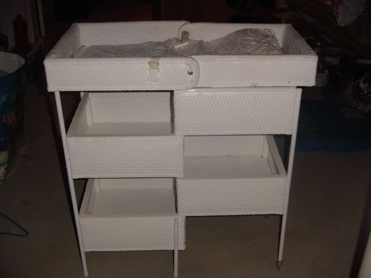 We Got A Vintage Folding Wicker Changing Table Like This