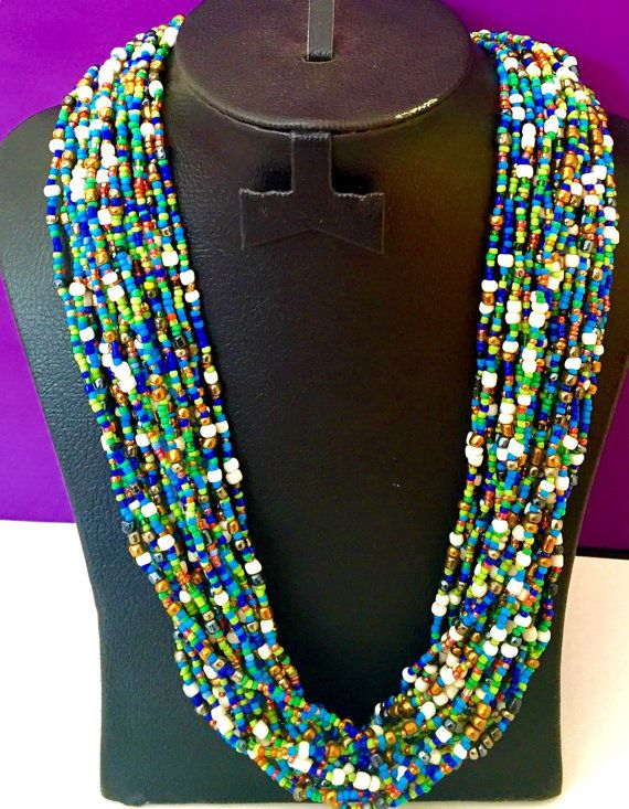 African Tribal jewelry multistrand by Africancraftsvillage on Etsy
