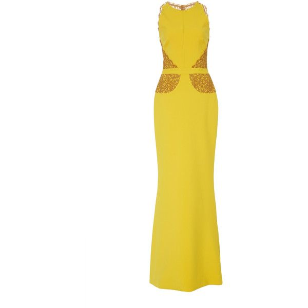 Sophia Kah Maria Joana Lace Applique Gown (€1.710) ❤ liked on Polyvore featuring dresses, gowns, yellow, lace evening gowns, lace ball gown, yellow evening dress, yellow lace dress and white evening gowns